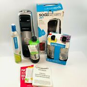 Sodastream 00161 Jet Sparkling Water Maker Black And Silver With 2 Extra Bottles