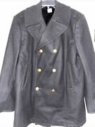 Authentic Mens Military Usa Navy Usn Wool Peacoat Jacket Sz 46 Gold Buttons Vtg