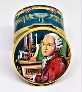 Halcyon Days Enamel Box - - Mozart Bicentennial - Piano And Music And Roses