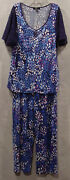 Carole Hochman Midnight Ladies Lace Embrace 2 Pc Pajamas New With Tag