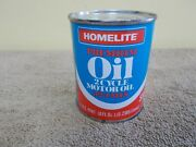 Vintage Nos Homelite Chain Saw Oil Full Advertizing Metal Can Real Nice