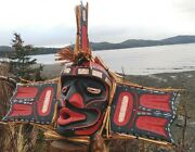 Native Northwest First Nations Cedar Carved Wild Woman From Ocean Mask