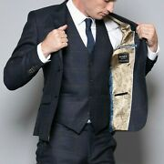 Mens Navy Blue Check Wedding Paisley Lined Tailored Fit 3 Piece Suit By Nines