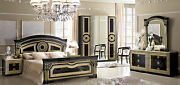 Esf Aida Black And Gold Finish Queen Size Bedroom Set 6 Pieces Made In Italy