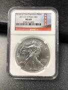 2011 S 1 American Silver Eagle San Francisco Mint Label - Ngc Ms69