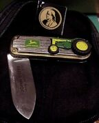 Franklin Mint John Deere1958 830 Tractor Collector Knife Tag Pouch And Box
