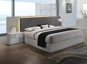 Contemporary Upholster Grey Polyester Blend Headboard Led Queen Size Bed 4pc Set