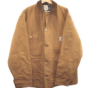 W193 Vintage 6blct Chore Jacket Brown Button Made In Usa Fleece Lined