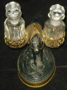 Antique Hand Painted White Metal And Brass Horse Perfume Holder