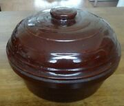 Vintage Dark Brown Baking Casserole Dish With Cover -- Stamped Usa On Bottom