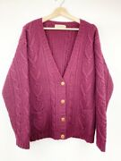 L L Bean Womens Cardigan Sweater Red Wool Long Sleeve V Neck Cable Knit Pocket L