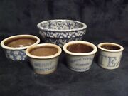 5 Vintage Bbp Beaumont Brothers Pottery 1994 / 1995 Mini Crocks And Bowls
