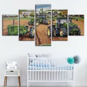 Tractor Earth Scooping Picture 5 Panel Canvas Print Wall Poster Home Decoration