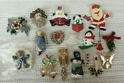Vintage Lot Of 18 Christmas Theme Brooches Or Pins Jewelry Lot Of 18 Xmas Pins