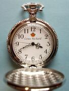 Louis Richard Silver Pocket Watch With Train Engraving In Excellent Condition