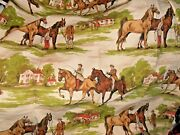4 Panels Vintage Waverly Drapes Equestrian Fabric Horse