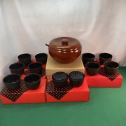 Contemporary Japan Miso Soup Rice Bowl Kid Spoon 10 Metal Cups 2 Condiment Jars