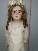 Antique Bisque Head Doll Jumeau French 1800s 35 Inches Huge No Cracks.