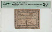March 1 1781 50 Virginia Colonial Note Va-204b Thick Laid Paper Pmg Vf 20 018