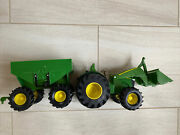 Ertl John Deere Green Tractor Front End Loader And Hopper Trailer Farm Toy Used