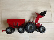 Ertl Red Case Ih Tractor Front End Loader And Hopper Trailer Farm Toy Used Nice