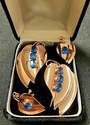 Signed Coro Craft Sterling Wwii Era Victory Dual Leaf Duette And Earrings C. 1940