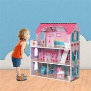 Large Wooden Dollhouse Doll Kid House Fun Pretend Play Home Hip Colorful Artwork