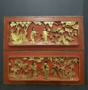 Pair Of Antique Chinese Lacquered Carved Wood Gold Gilt Panels -high Relief -14