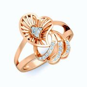0.09ct Natural Diamond Pure Heart Shaped Ring 14k Rose Gold Fine Jewelry