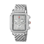 Michele Mother Of Pearl Diamond Swiss Quartz Movement Watch Dial In Steel Ct 0.6