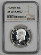 1967 Sms Kennedy Half Dollar 50c Ngc Ms 67 Mint State Unc Star - Cameo 002