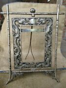 Spectacular Antique Chinese Export Silver Cabinet Photo Frame Dragons And Pearl