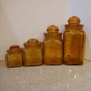 60s Vintage L.e. Smith 8pc Heavy Amber Canister Apothecary Thumbprint Jar Set