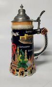 Vintage Belgium Stein Hand Painted Gold Plated Lid Silver-plated Souvenir Cute