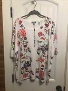 Joseph A Size Xxl Plus White Floral Short Sleeve Sweater/top Nwt