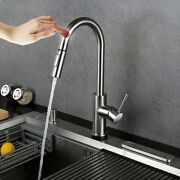 Touch Kitchen Sink Faucet Pull Out Sprayer Brushed Nickel Mixer Tap Stainless Us