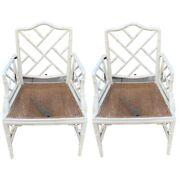 Pair Vintage Chinese Chippendale Regency Cane Accent Arm Chairs Faux Bamboo
