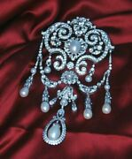 Solid 925 Sterling Silver Vintage Style Pear Drop And Diamond Handmade Brooch Pin