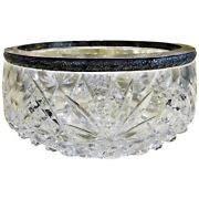 Vintage Russian Soviet Classic Large Crystal And Silver Circular Bowl Ca. 1945