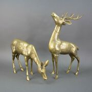 """Vintage Large Brass Spotted Buck And Doe Deer Figurine Statue Set 18"""" Tall"""