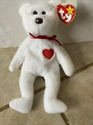 Ty Beanie Baby Andldquovalentinoandrdquo Bear 1993 Rare With Brown Nose Pvc Pellets W/ Errors