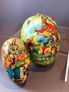 West Germany Paper Mache Easter Eggs With Beautiful Lithos, Lot Of 2
