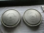 Old Pair 2 Ford Motor Company 10.5 X 2 1/4 Dog Dish Hubcaps / Ratrod Vintage