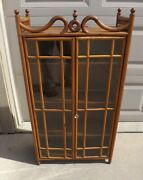 Antique Victorian Stick And Ball Hanging - Solid Oak Curio Cabinet
