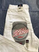 Jnco 85 Crown Jeans Mens 33x30 White Wide Leg Baggy Flames Rave Grunge 2002 Nwt