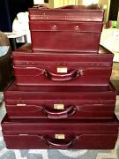 Vintage Hartmann Red Hard Luggage Suitcase Train Case Set Of 4 Near Perfect