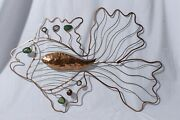 Hand Hammered Brass Copper Sea Glass Fish Brutalist Wall Hanging 20