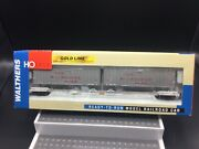 New Ho Scale Walthers Gold Line Milwaukee Road Flexi-van Flat Car With Trail