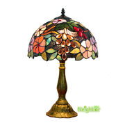 Style Table Lamp Stained Glass Lights Grape Retro Desk Lamp Reading Lamp