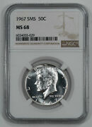 1967 Sms Kennedy Half Dollar 50c Ngc Certified Ms 68 Mint State Unc 029
